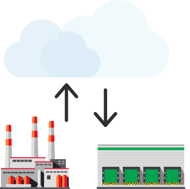 Depiction of a warehouse and a loading dock collaborating and sharing data via cloud technology.