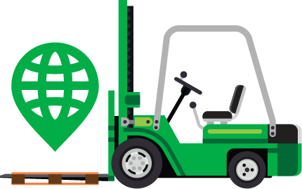 Forklift carrying Navegate Logo