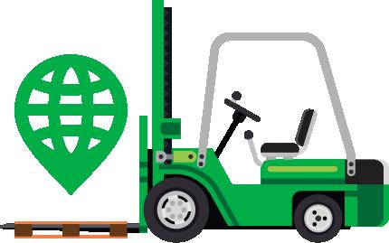 Forklift carrying Navegate Logo