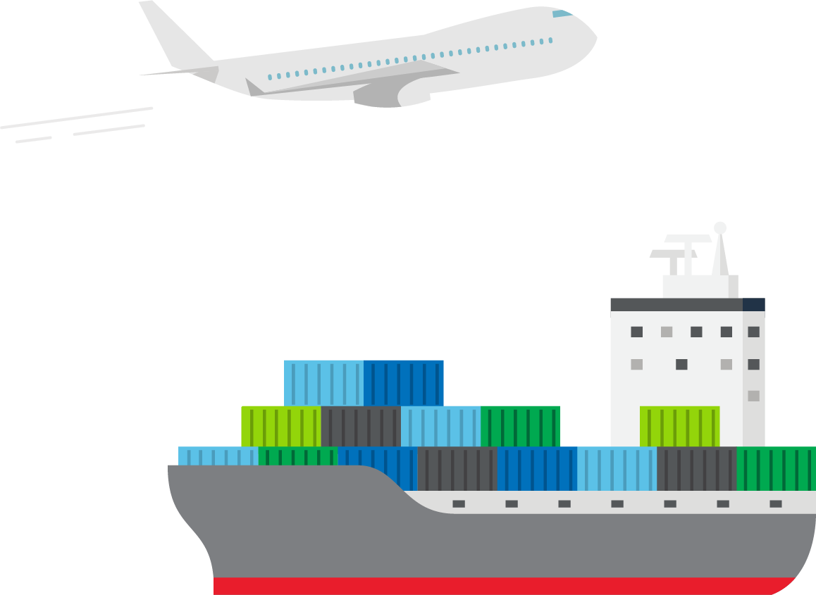 Illustration of cargo ship, cargo plane, and intermodal containers