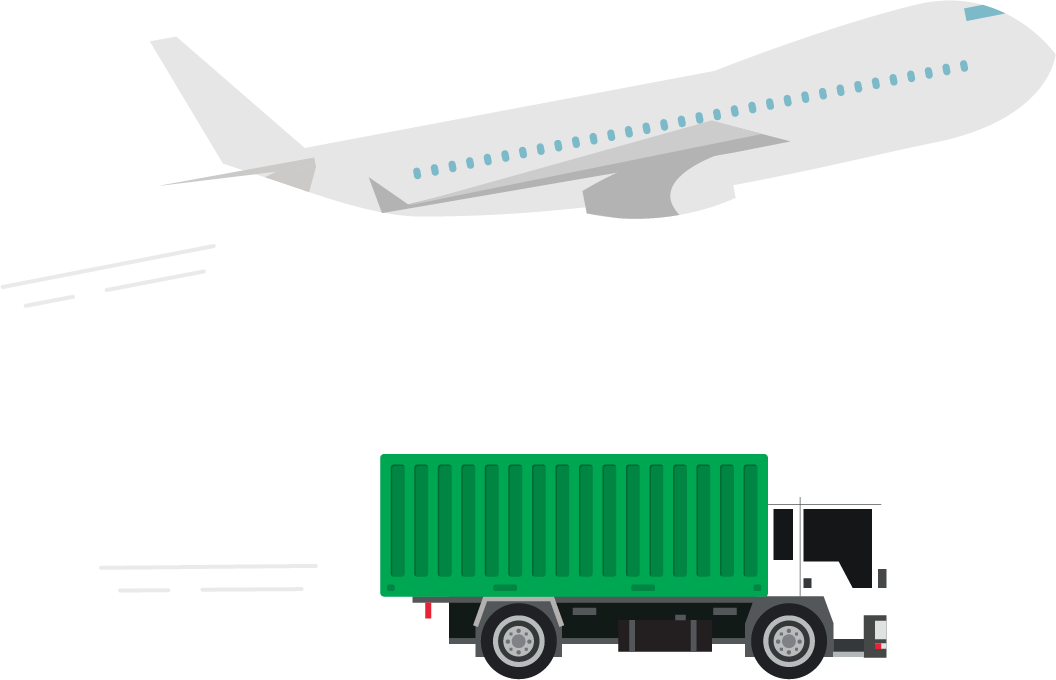 Illustration of cargo plane and intermodal truck moving forward