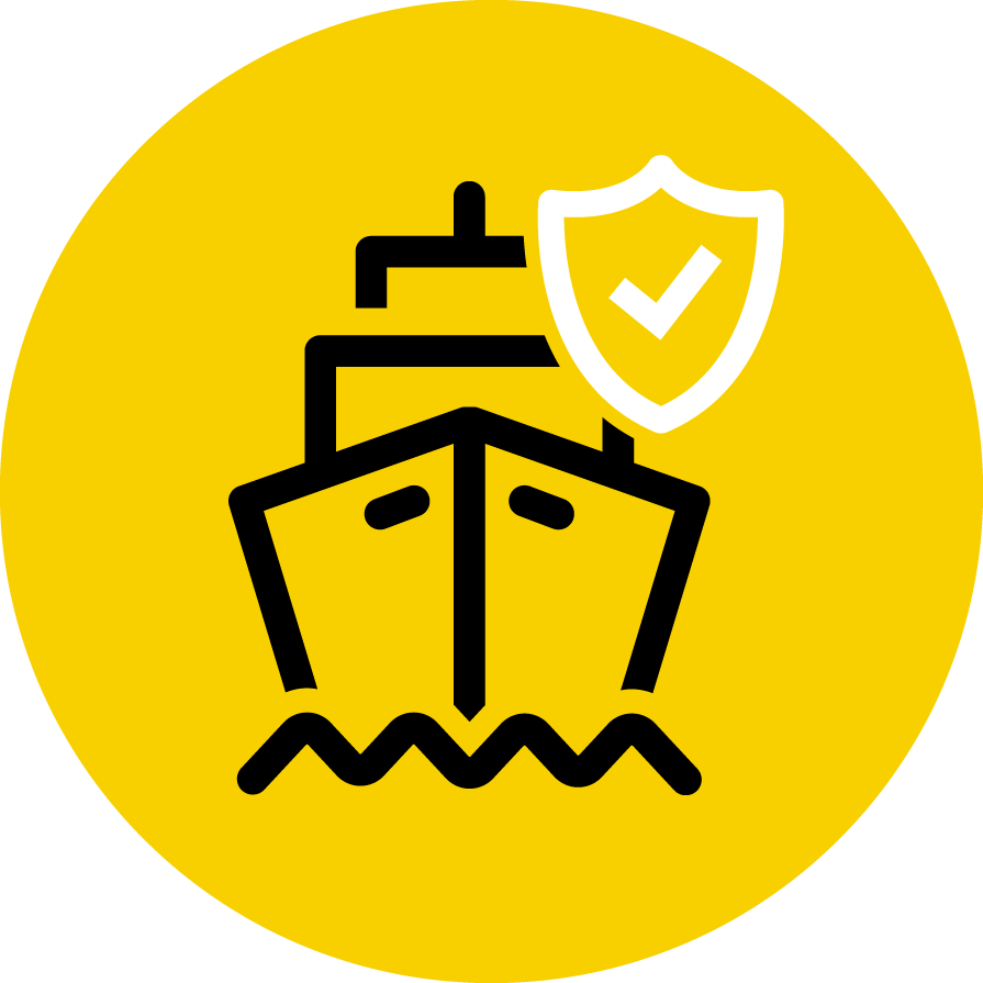 Icon depicting ship being cleared in customs brokerage