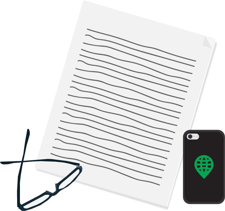 Icon depicting eyeglasses, iPhone, and stack of logistics paperwork.