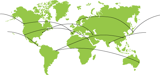 Map with connected global supply chain network