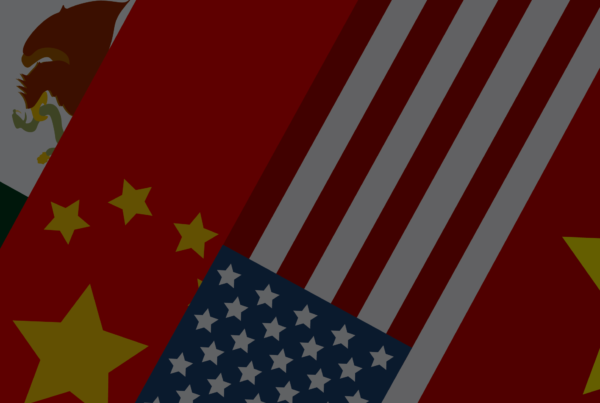 Illustration of U.S. flag, China flag, Mexico flag, and Vietnam flag