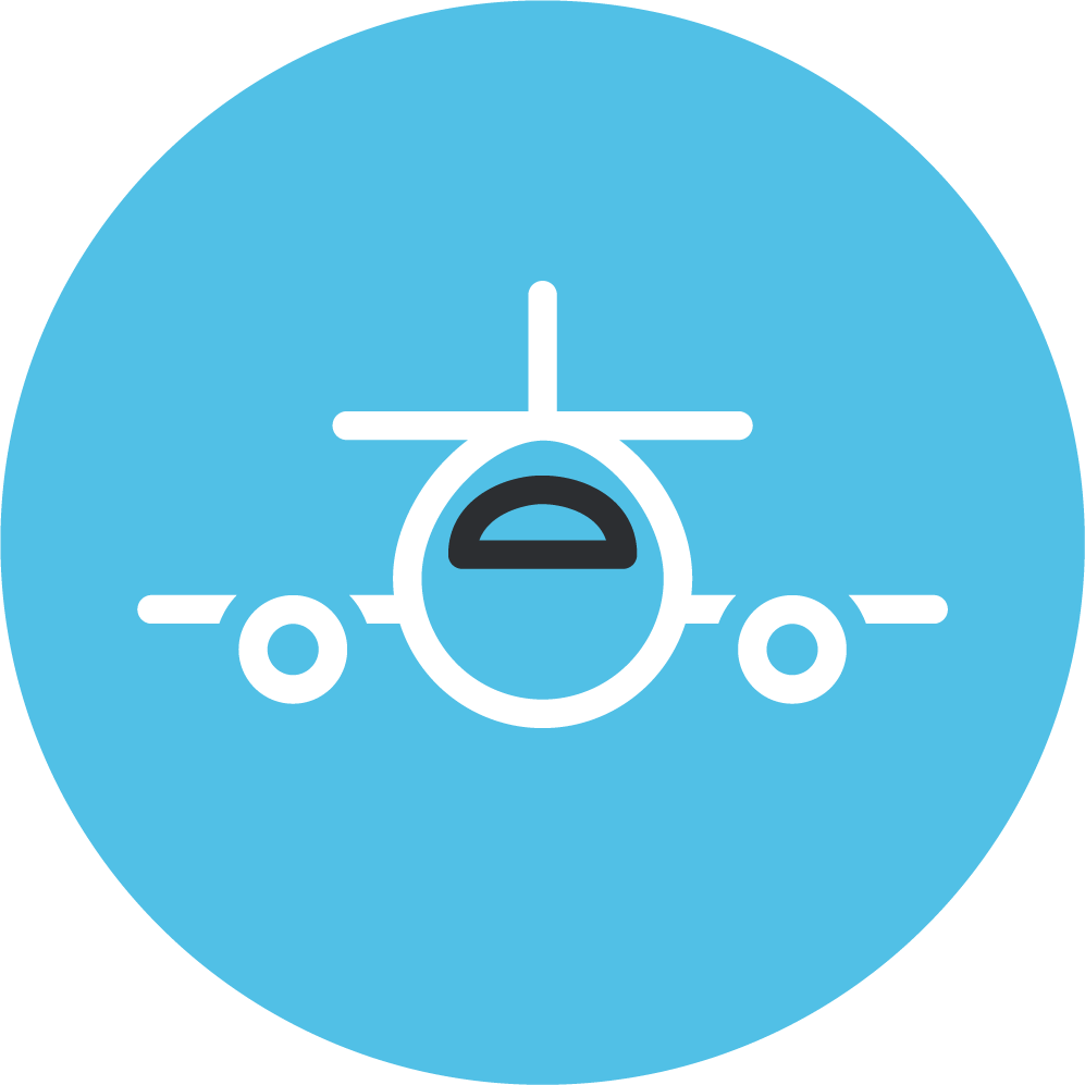 Blue icon depicting air cargo