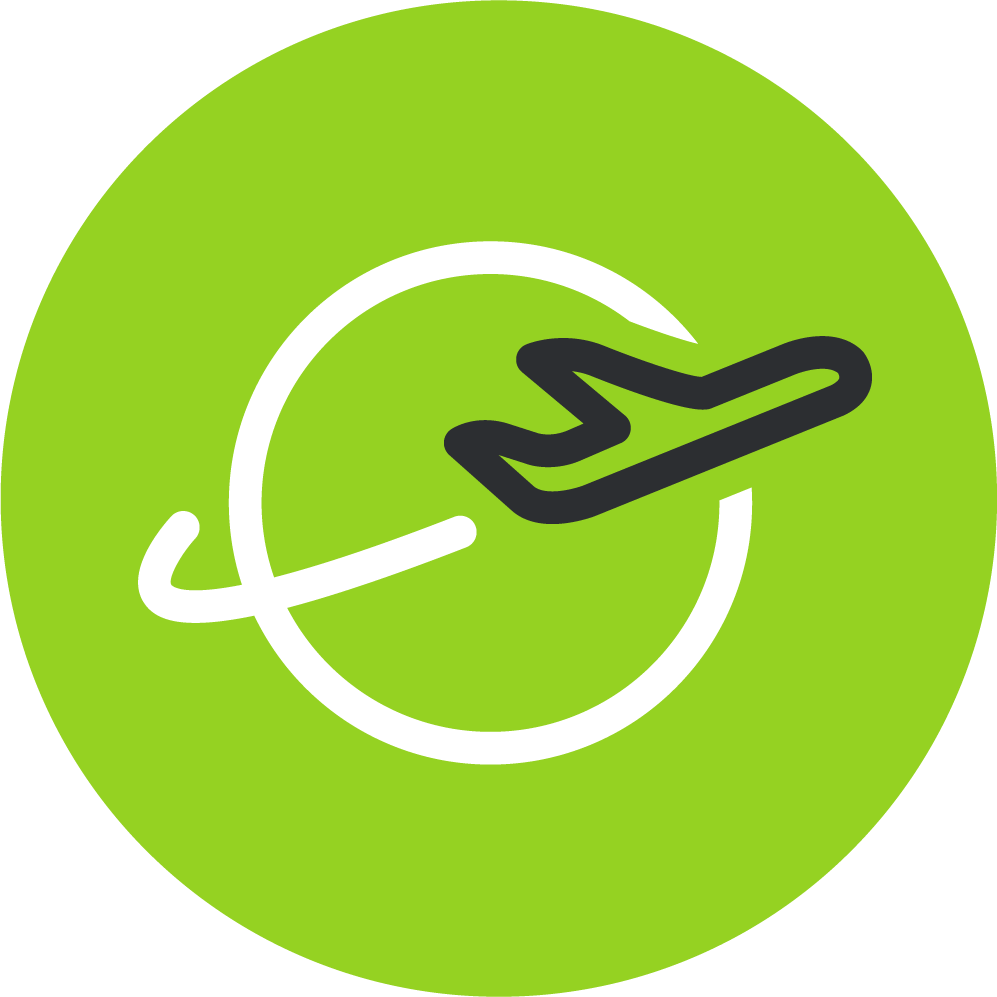 Green icon depicting cargo traveling cross-border