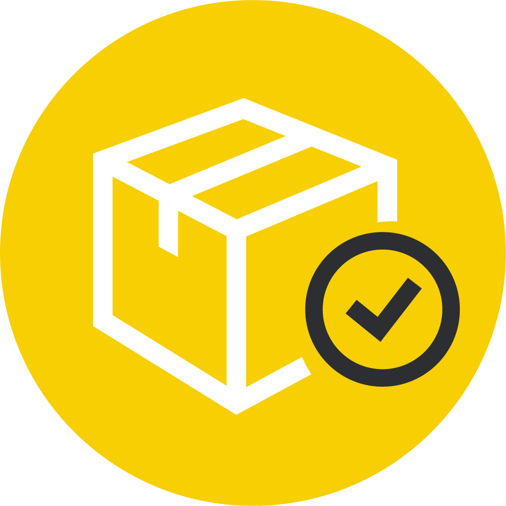 Yellow icon illustrating cargo being cleared for customs