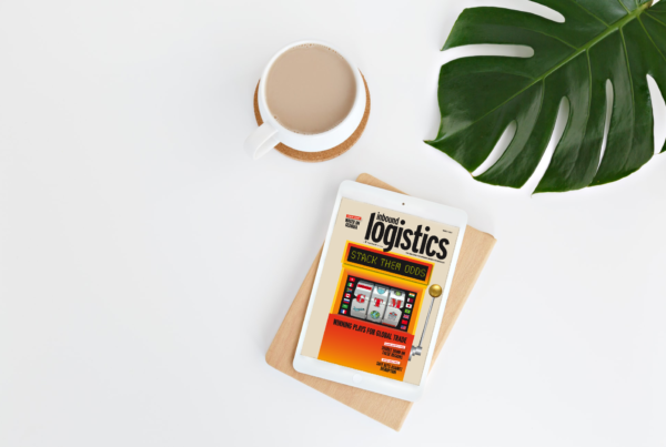 Inbound Logistics 2020 top 30 Global Trade Management Systems issue on table with coffee