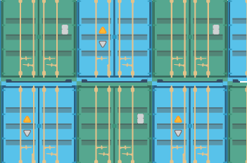 Shipping containers stacked at port in Incoterms 2020 color scheme
