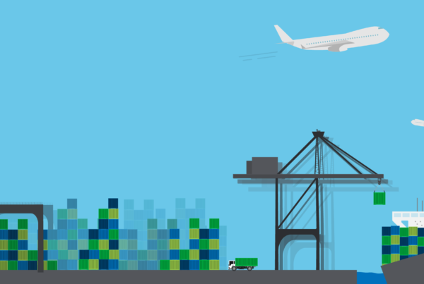 Illustration of busy shipping port with drayage cranes, container ships, and cargo planes.