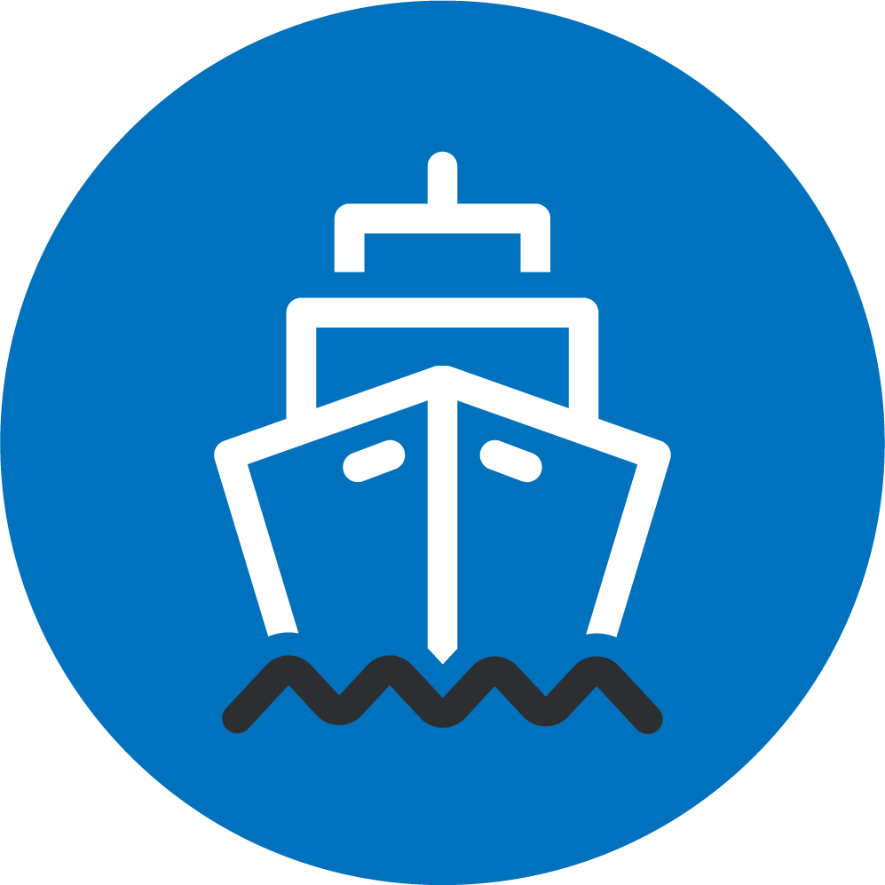 Dark blue icon illustrating a cargo ship on the ocean