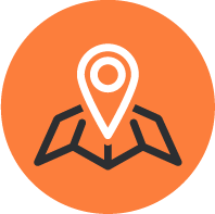 Orange icon with pin on a map, depicting international project cargo planning