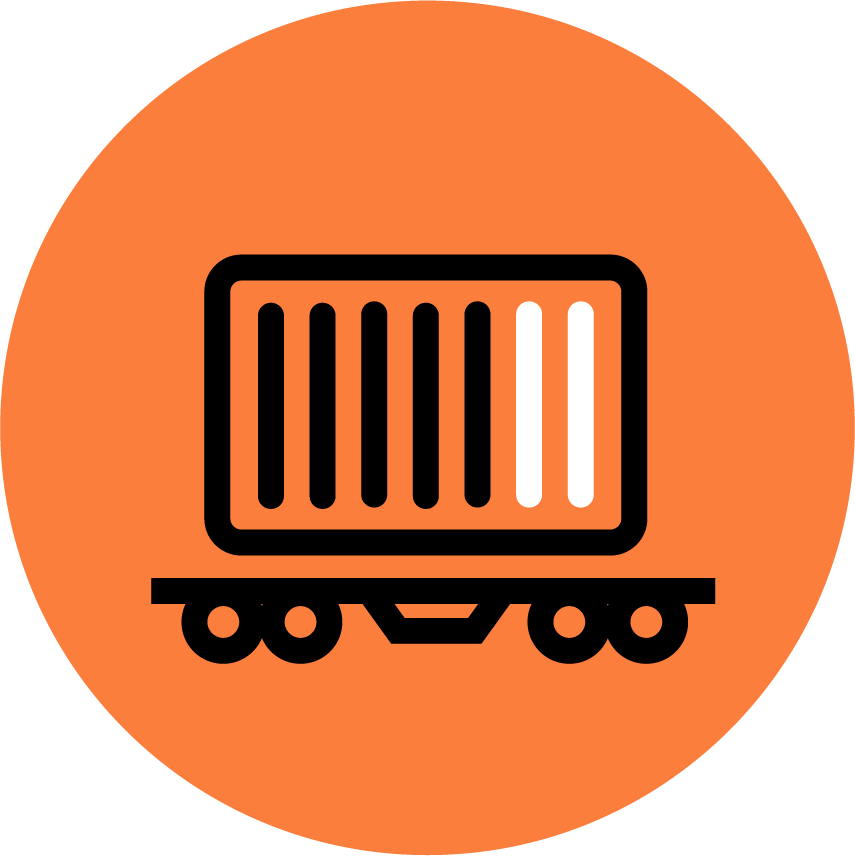 Orange icon depicting an intermodal shipment being transported via rail.