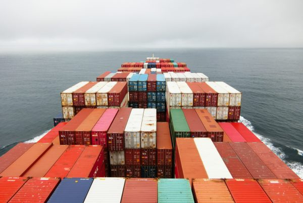Photo of shipping containers on containership at sea