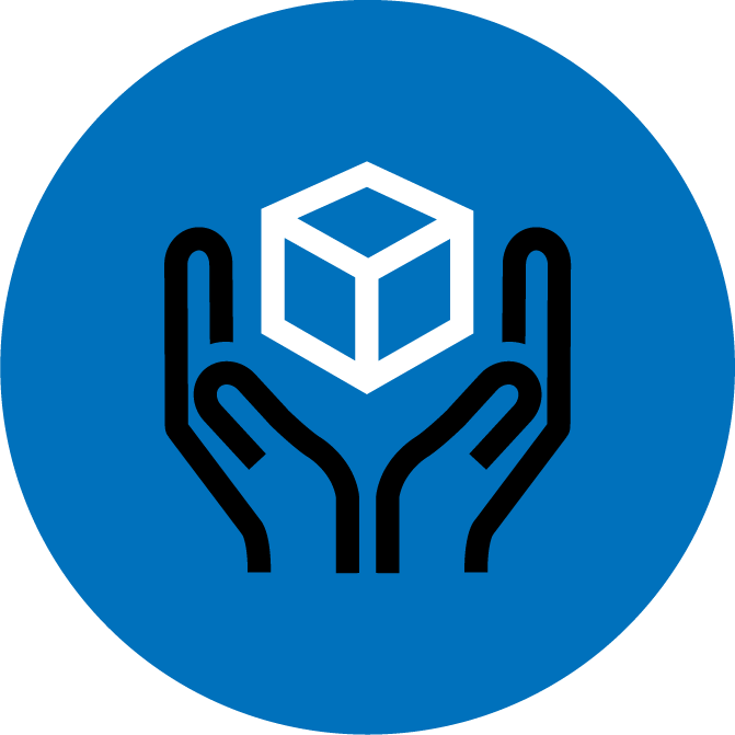 Blue icon showing hands carrying a smallpack shipment.