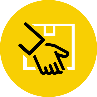 Yellow icon showing hand holding smallpack shipment