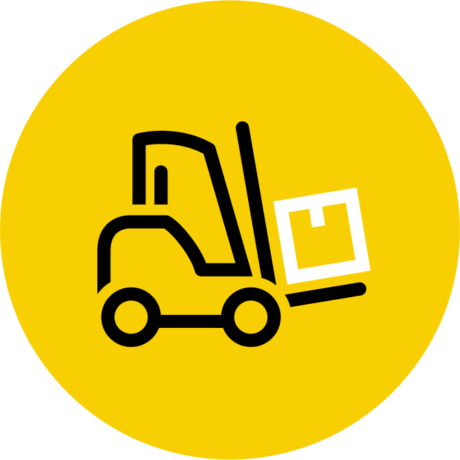 Yellow icon depicting forklift carrying freight in a warehouse.