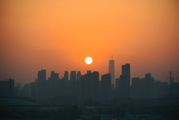 Photo of Wuhan, China's skyline at sunset